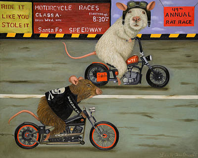 Hamster Painting - Rat Race 3 by Leah Saulnier The Painting Maniac
