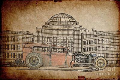 Ford Watercolor Photograph - Rat Rod 1 Illustration by Dave Koontz