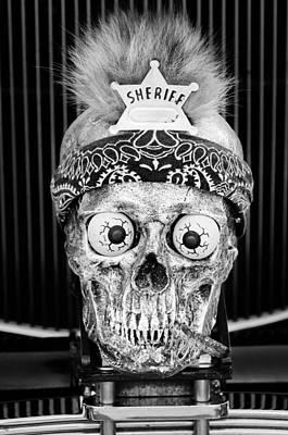 Skull Photograph - Rat Rod Hood Ornament by Jill Reger
