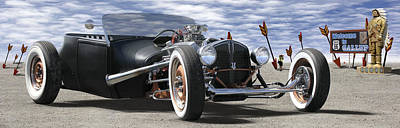 Rat Rod Digital Art - Rat Rod On Route 66 2 Panoramic by Mike McGlothlen