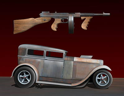Rat Rod Digital Art - Rat Rod Sedan Iv by Stuart Swartz