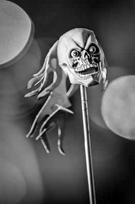 Classic Hot Rod Photograph - Rat Rod Skull Antenna Ornament by Jill Reger