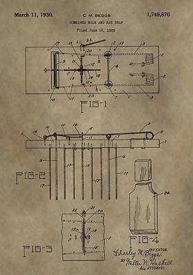 Mouse Mixed Media - Rat Trap Patent by Dan Sproul