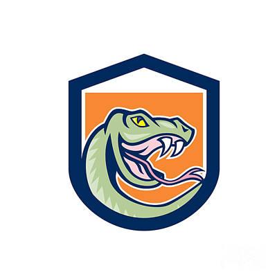 Rattle Snake Head Shield Cartoon Art Print by Aloysius Patrimonio