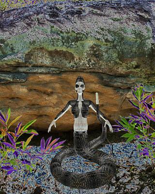 Alligator Mixed Media - Rattlesnake Alien World by Dora Hembree