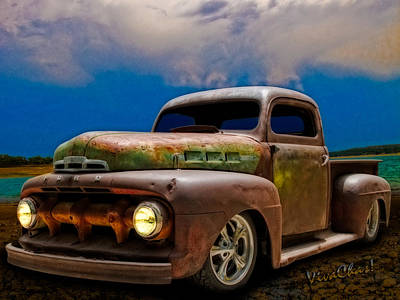 Medina Lake Photograph - Ratty Ford Pickup by Chas Sinklier