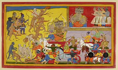 Ravana Sets Out To Battle Art Print by British Library