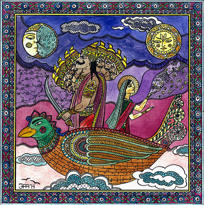 Ravana Stealing Sita Art Print by Jekaterina Mudivarthi