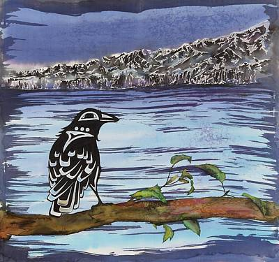 Raven And Ice Art Print by Carolyn Doe
