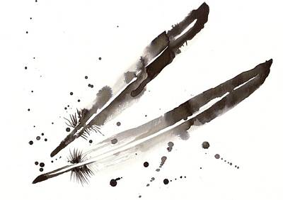 Feathers Painting - Raven Crow Feathers by Tiberiu Soos
