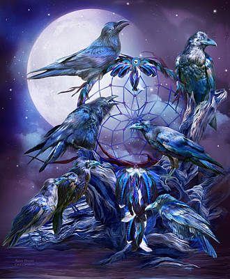 Seven Mixed Media - Raven Dreams by Carol Cavalaris