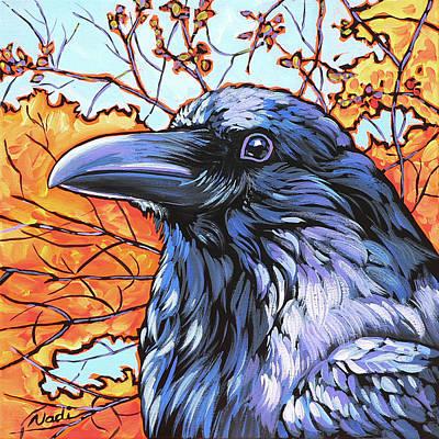 Raven Head Art Print by Nadi Spencer