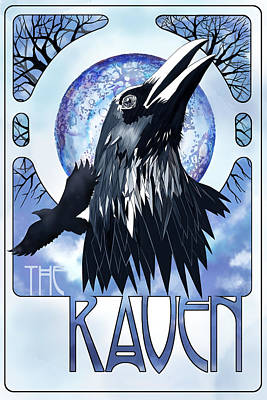 Moon Painting - Raven Illustration by Sassan Filsoof