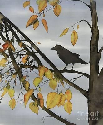 Raven In Birch Art Print by Carolyn Doe