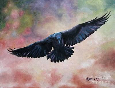 Raven In Flight Original by Wendy Ray