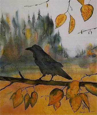 Raven In Orange Birch Art Print by Carolyn Doe