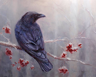 Raven In The Stillness - Black Bird Or Crow Resting In Winter Forest Art Print by Karen Whitworth