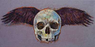 Surrealistic Painting - Raven Skull by Michael Creese