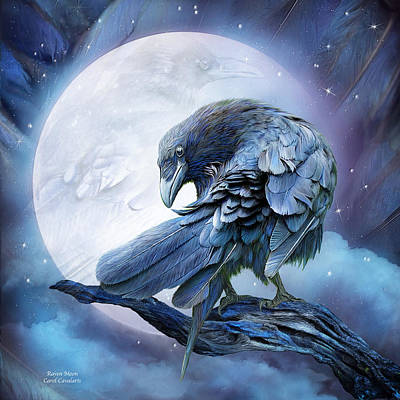 Raven Mixed Media - Raven Moon by Carol Cavalaris