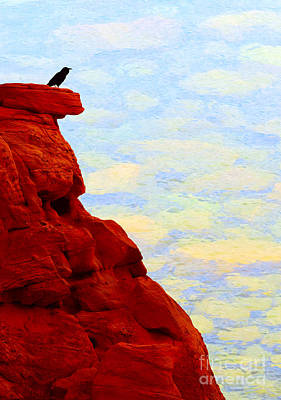 Photograph - Raven On A Red Cliff - V2 by Les Palenik