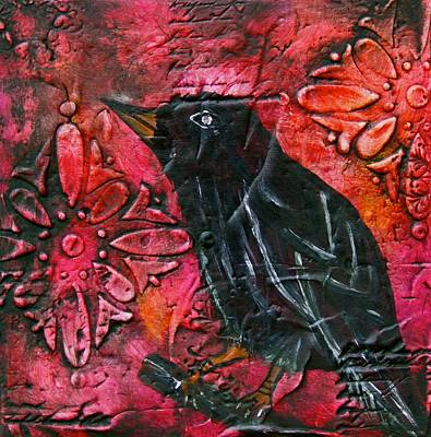 Raven Painting With Textured Background Original