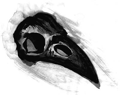 Negro Painting - Raven Skull - Crow Skull In Watercolor Painting by Tiberiu Soos