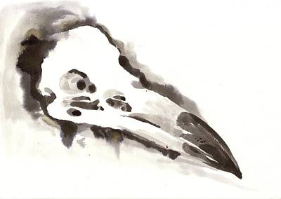 Negro Painting - Raven Skull - Crow Skull Watercolor Painting by Tiberiu Soos