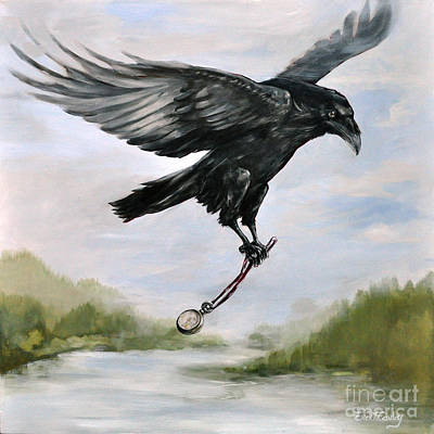 Stealing Painting - Raven Stealing Time by Eve McCauley