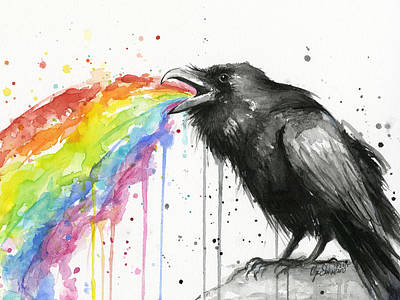 Bird Watercolor Painting - Raven Tastes The Rainbow by Olga Shvartsur
