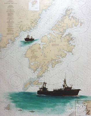 Kodiak Alaska Painting - Raven Trawl Fish Boat Kodiak Nautical Chart Art by Cathy Peek