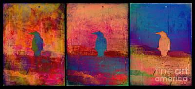 Photograph - Raven Triptych by Meghan at FireBonnet Art