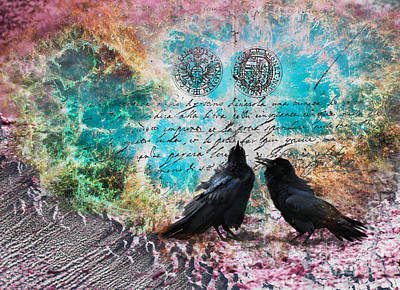 Digital Art - Raven Whispers In The Nowhere by Lisa Redfern