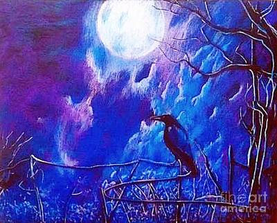 Painting - Raven With Moon by Stefan Duncan
