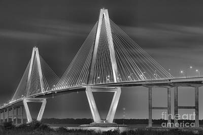 Photograph - Ravenel Bridge In Black And White by Adam Jewell