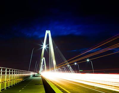 Photograph - Ravenel Bridge Light Trails - Charleston Sc by Donnie Whitaker
