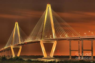 Photograph - Ravenel Bridge Under Moonlight by Adam Jewell