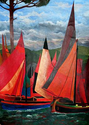 Print featuring the painting Ravenna Regatta by Tracey Harrington-Simpson