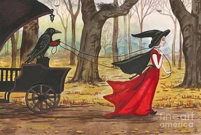Ravens Halloween Carriage Art Print by Margaryta Yermolayeva