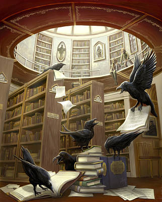 Ravens In The Library Art Print by Rob Carlos