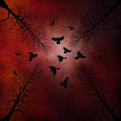 Foreboding Digital Art - Ravens In The Sky by Sannel Larson
