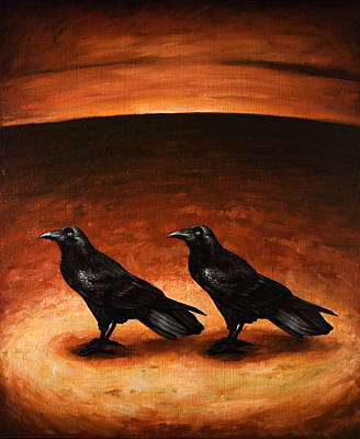 Corvid Painting - Ravens by Mark Zelmer