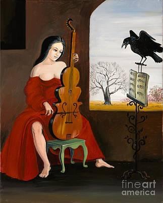 Haunted House Painting - Raven's Melody by Margaryta Yermolayeva