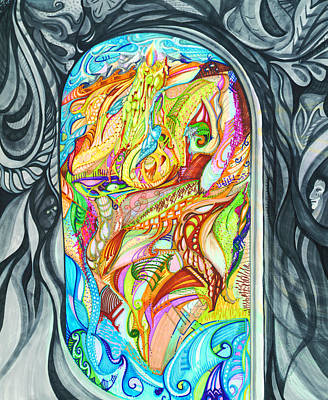 Drawing - Raven's Window by Karen  Renee