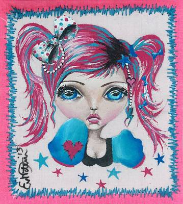 Big Eyed Girl Painting - Raver Girl by Lizzy Love of Oddball Art Co