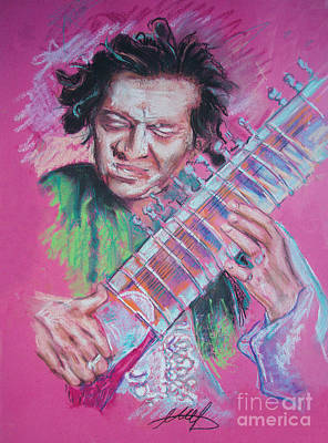 Ravi Drawing - Ravi Shankar by Melanie D