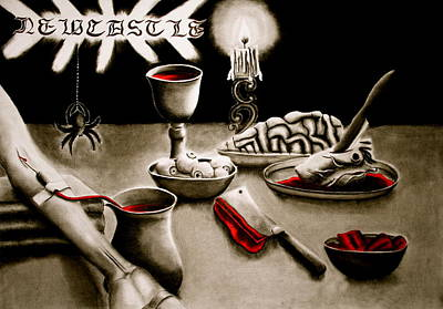 Red Wine Drawing - Raw Meal by Kelly Gin