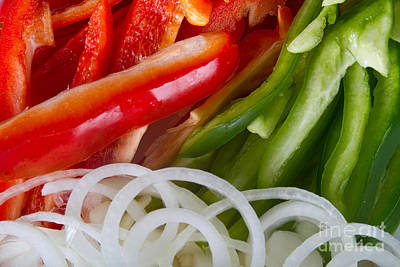 Photograph - Raw Red Peppers Green Peppers And Onions by James BO Insogna