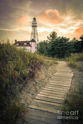 Photograph - Rawley Point Lighthouse Under Smoldering Skies by Mark David Zahn