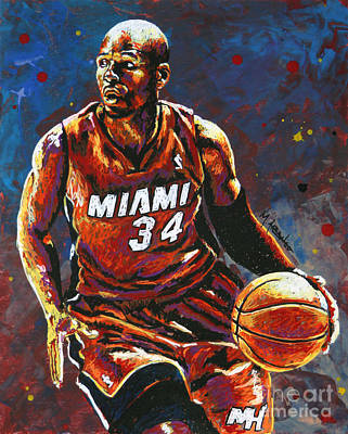 Basketball Hoop Painting - Ray Allen by Maria Arango