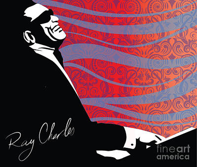 Pianist Digital Art - Ray Charles Jazz Digital Illustration Print Poster  by Sassan Filsoof